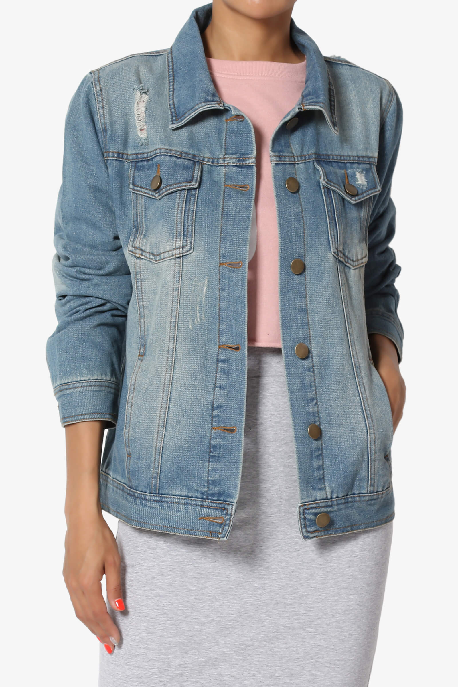 b158d426bc5d7 TheMogan Trucker Relaxed Fit Boyfriend Denim Jacket in Distressed Medium  Wash