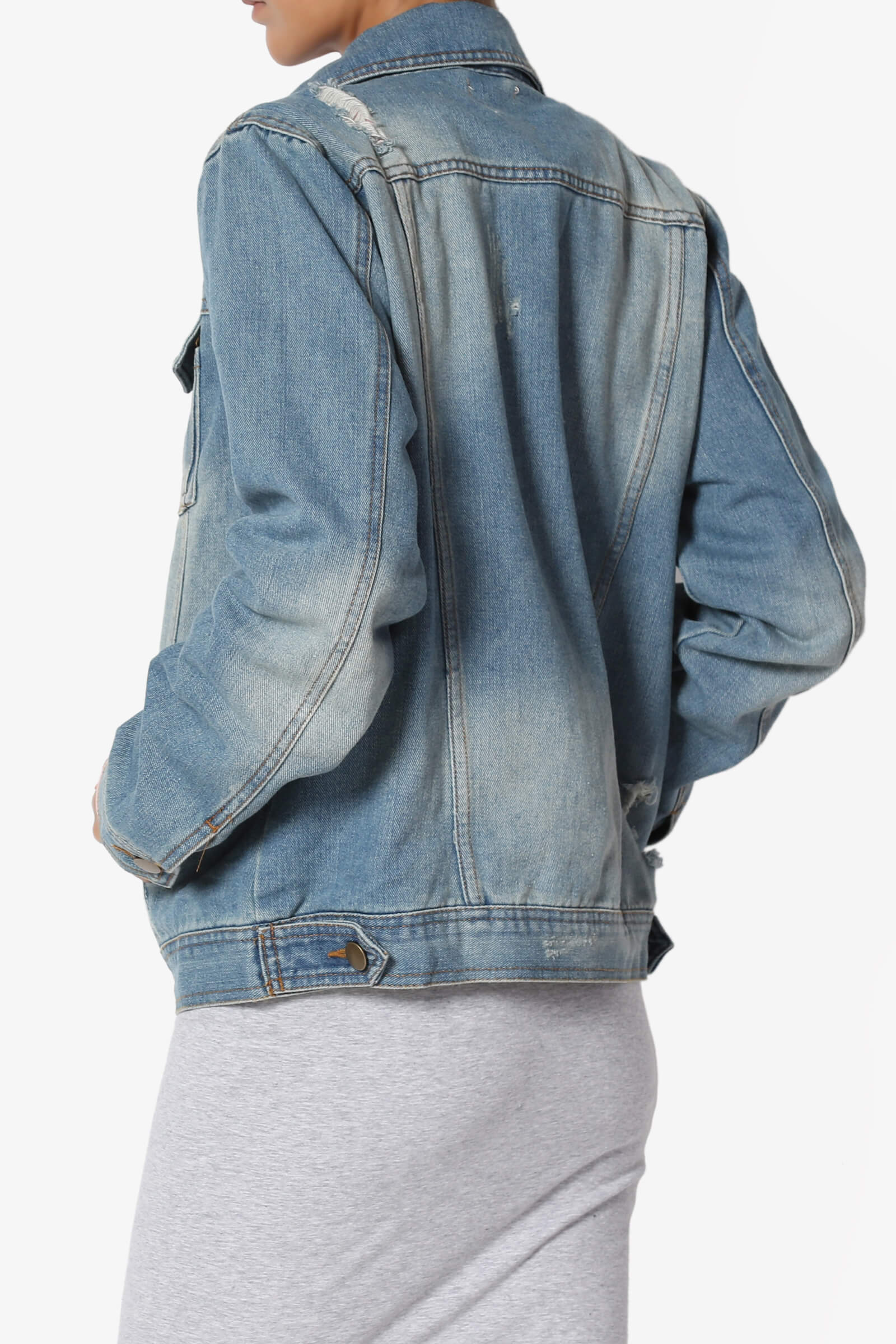 62db310692286 TheMogan Trucker Relaxed Fit Boyfriend Denim Jacket in Distressed ...
