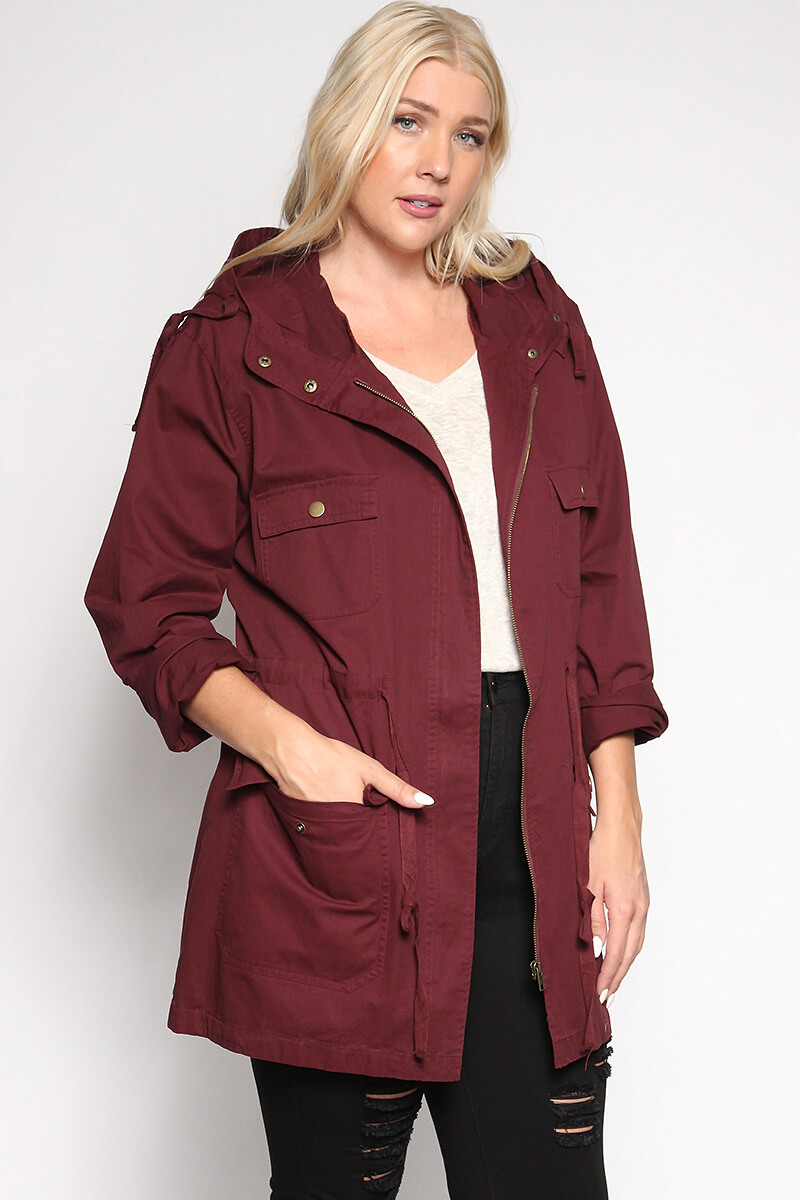 themogan women's plus size oversized anorak jacket utility