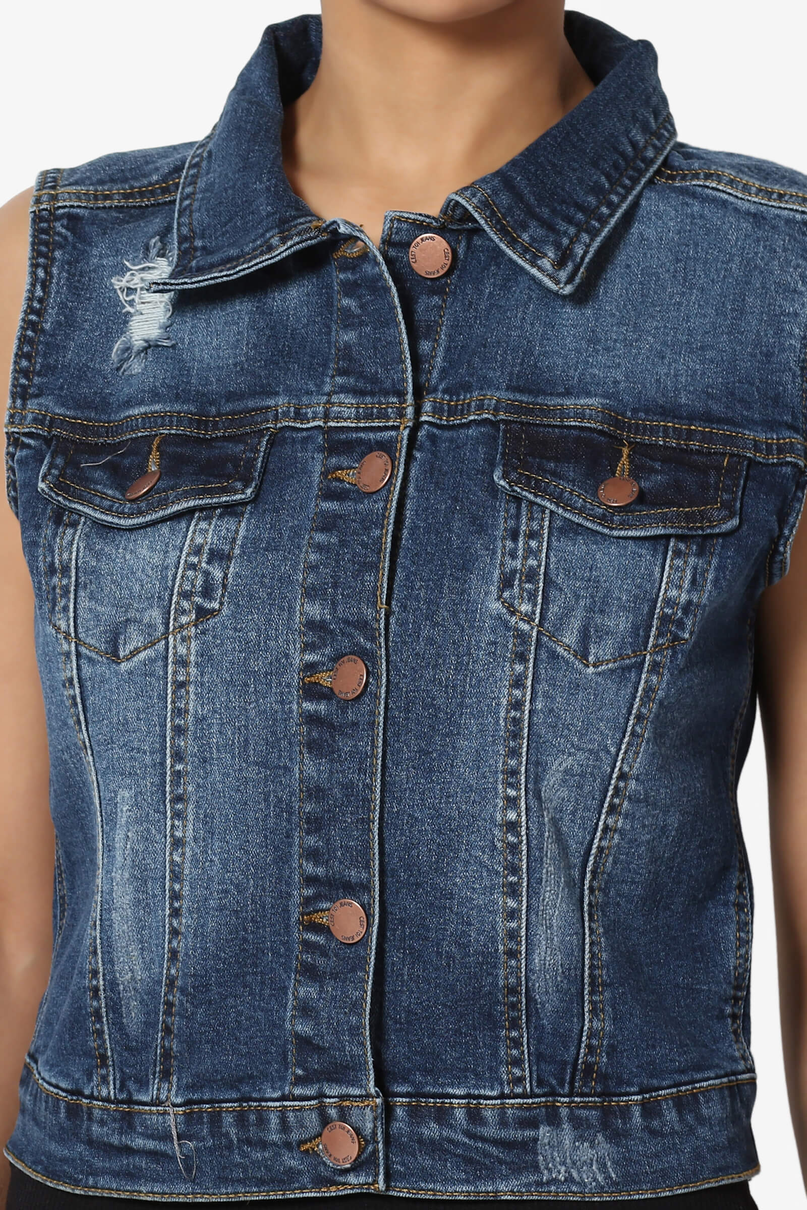 4908b376a4ec3 TheMogan S~3X Vintage Distressed Wash Trucker Denim Vest Sleeveless ...