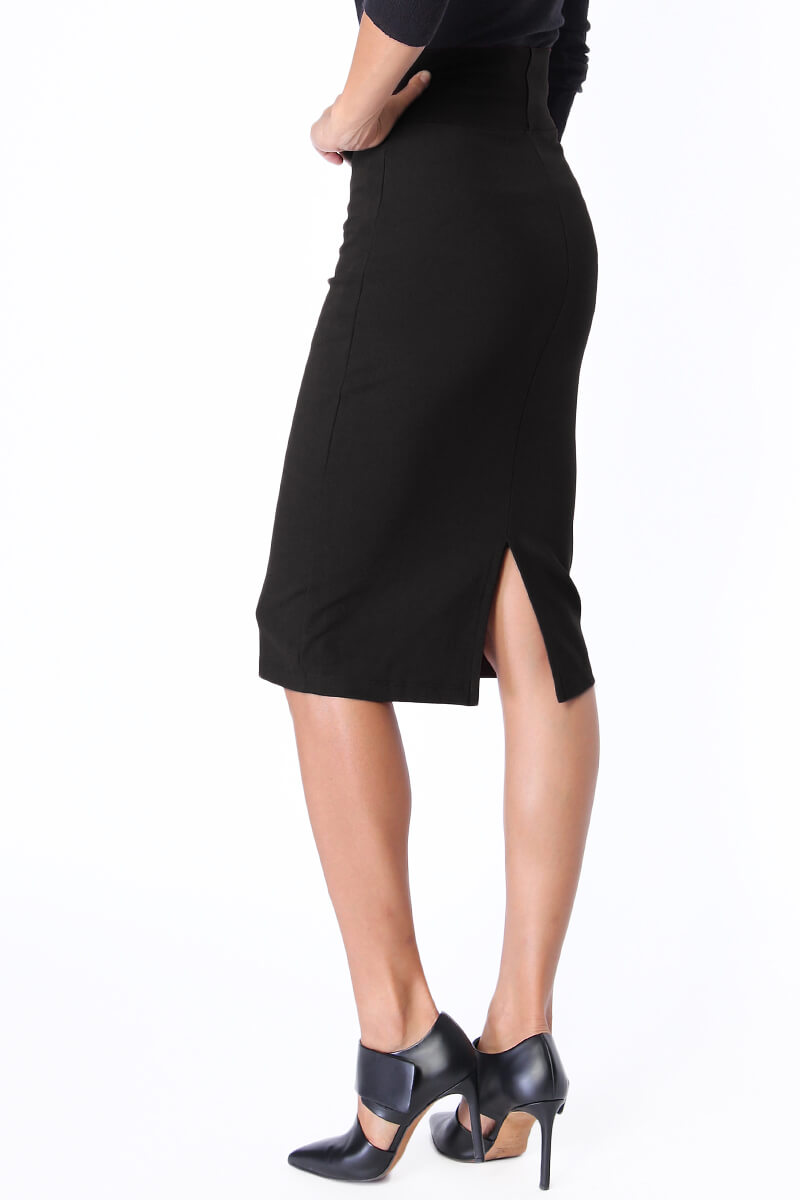 TheMogan 4 Way Stretch High Waisted Midi Knee Length ...