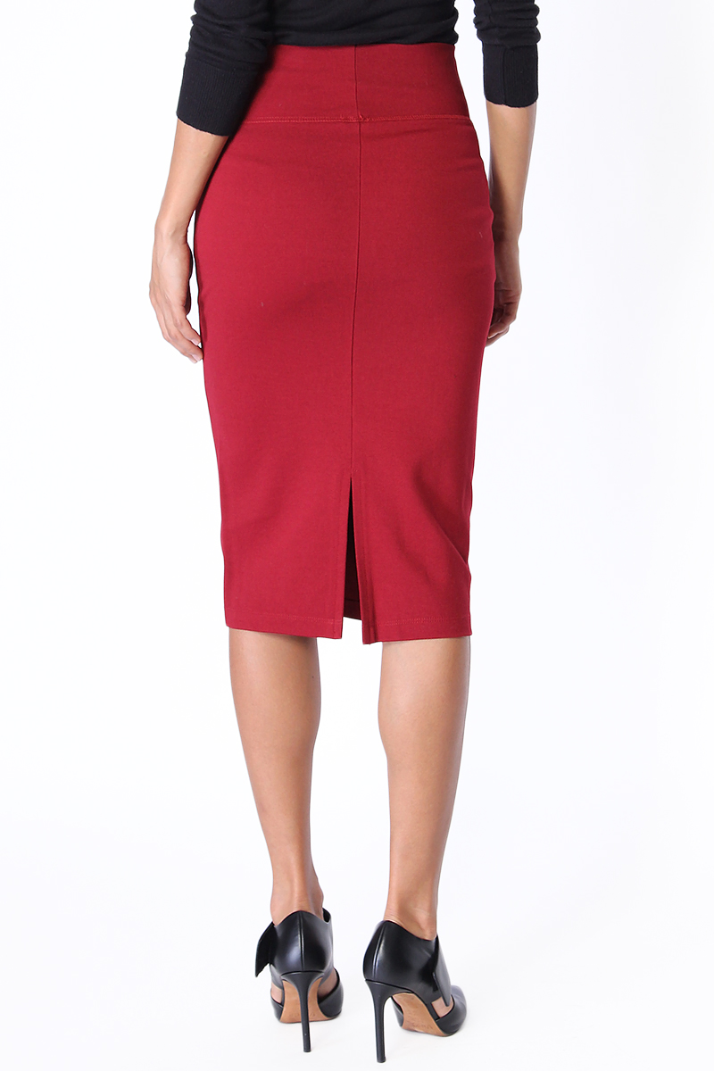 themogan 4 way stretch high waisted midi knee length