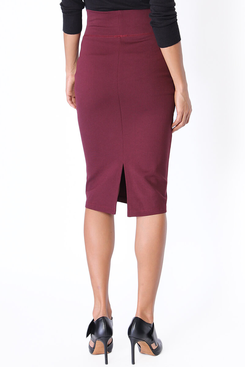 TheMogan 4 Way Stretch High Waisted Midi Knee Length Fitted Pencil ...