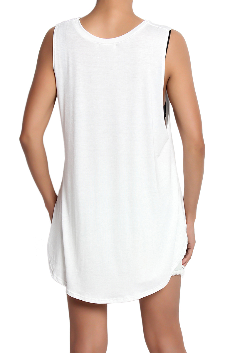 Themogan leaf graphic print sleeveless jersey tee slouchy for Sleeveless graphic t shirts