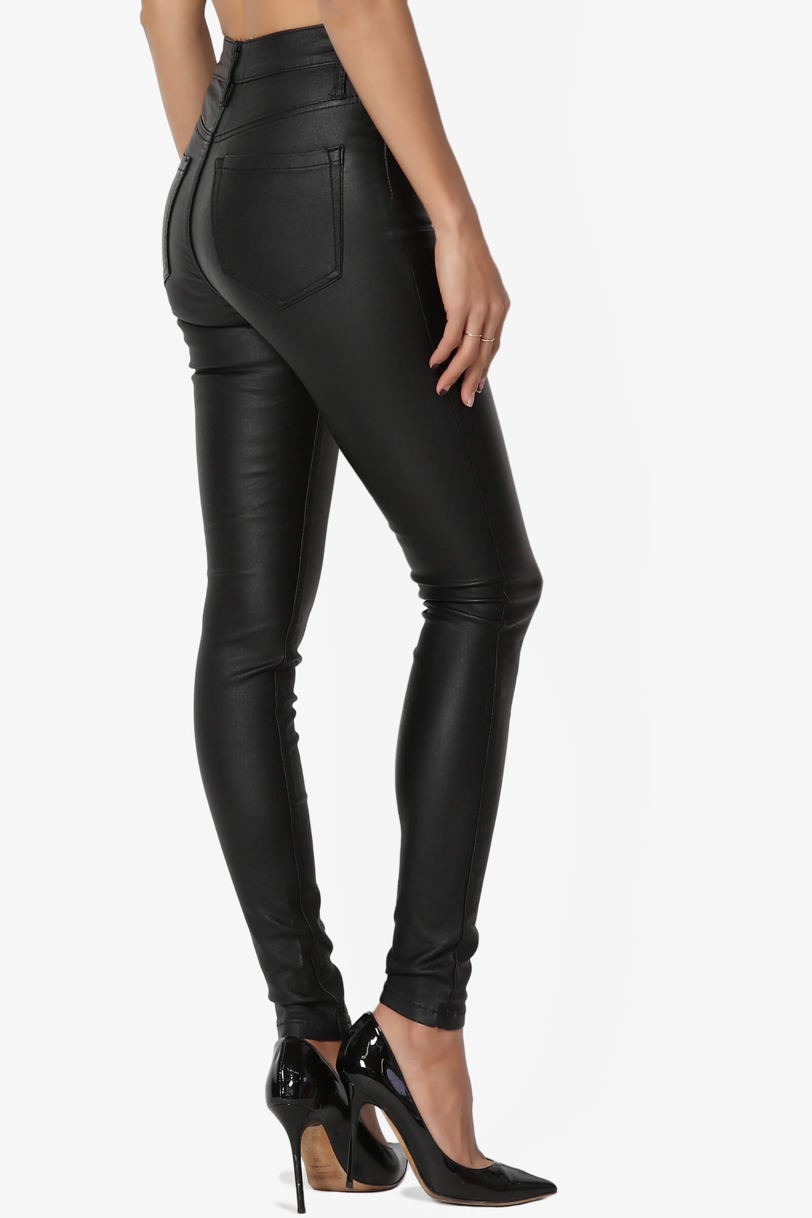 d2d25eb93cf4ec Details about TheMogan Faux Leather High Waisted Skinny Pants Biker Wet  Shiny Look Trouser