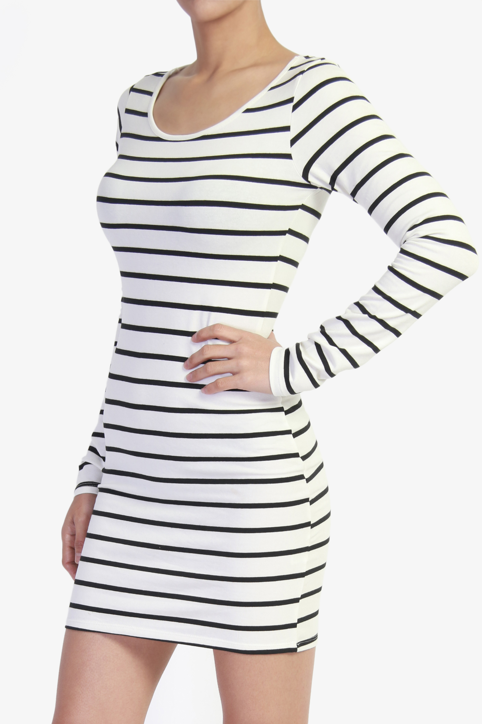 TheMogan Black & White Stripe Long Sleeve Comfy Casual Bodycon ...