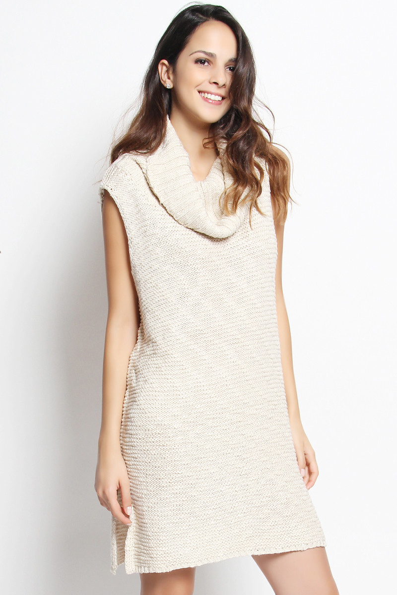 TheMogan Sleeveless Cowl Neck Side Slit Tunic Sweater Dress | eBay