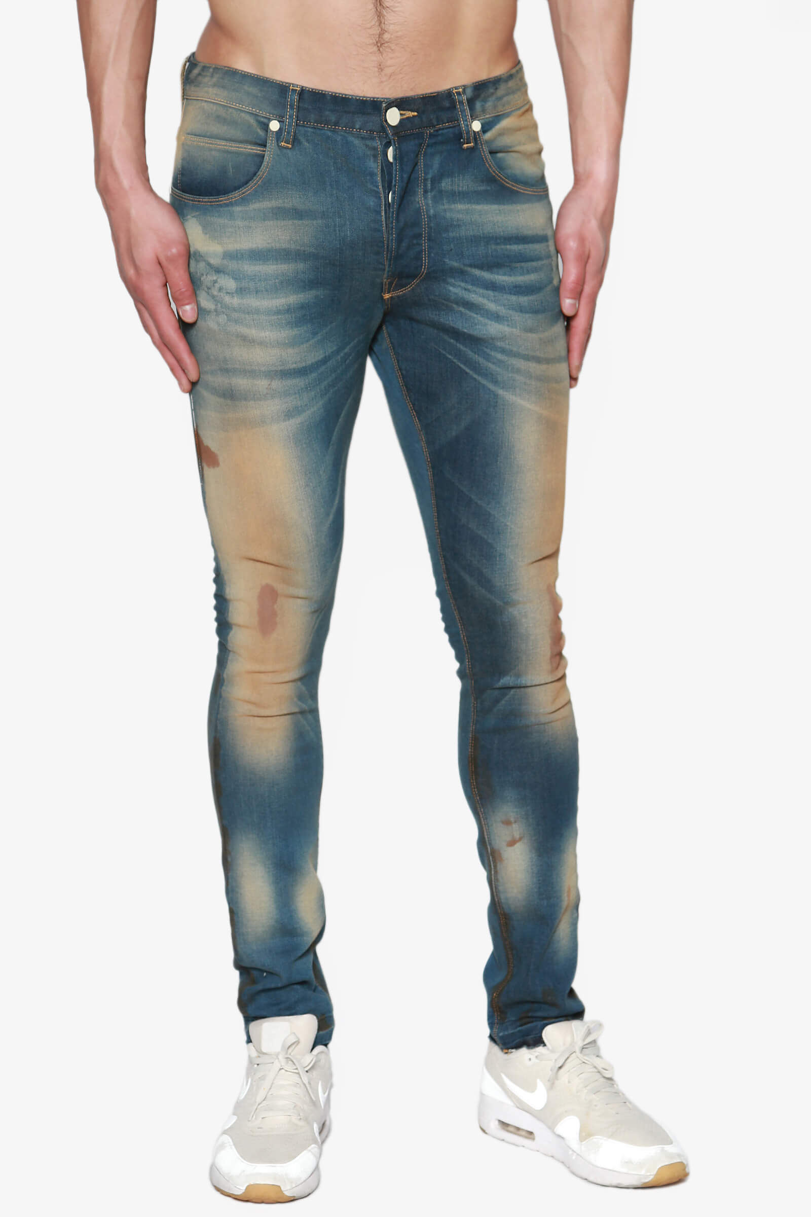 07d9d17d25817 TheMogan Men s Coffee Stain Vintage Washed Stretch Denim Tapered Skinny  Jeans