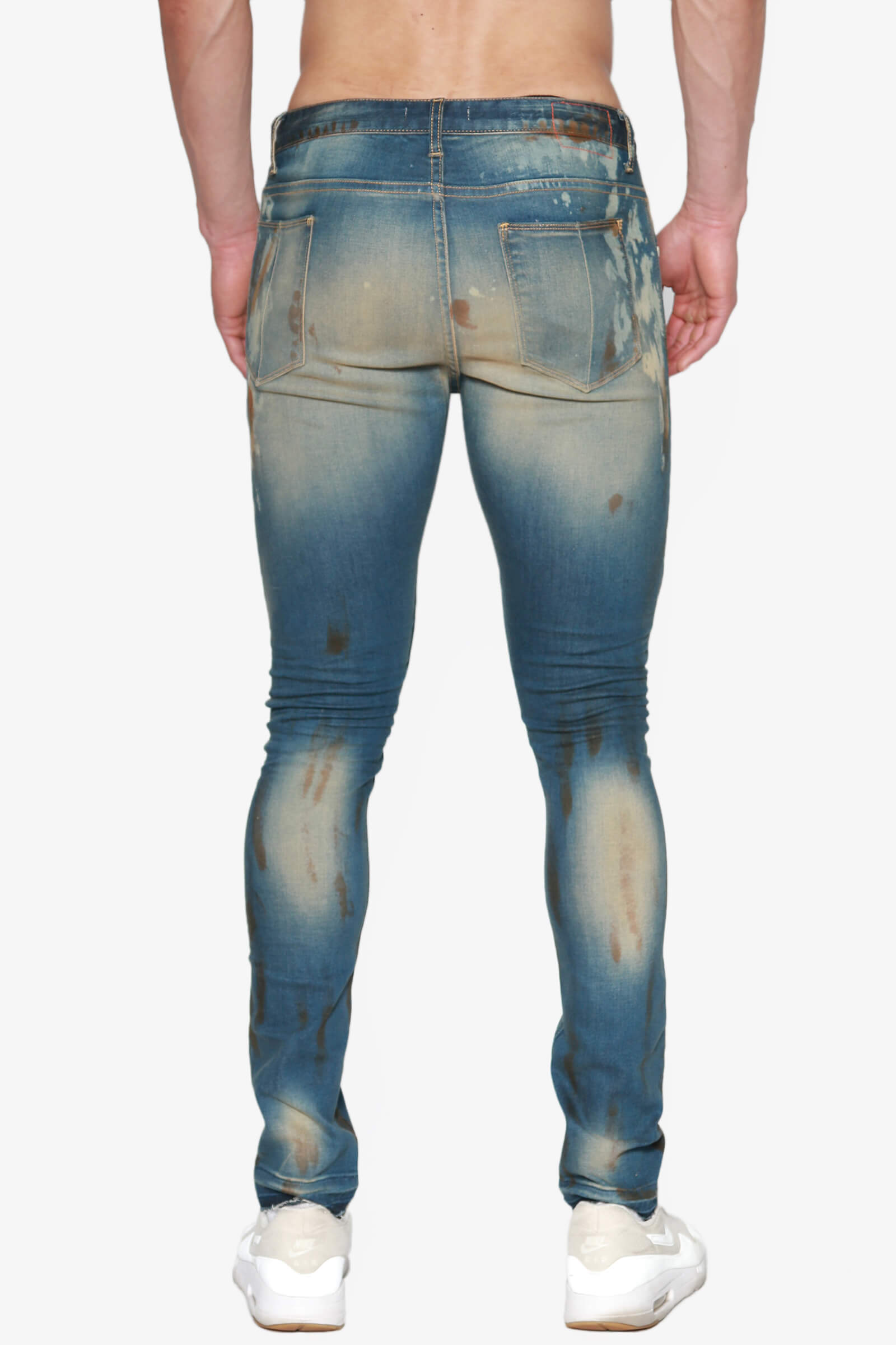 2dc15dc605b33 TheMogan Men s Coffee Stain Vintage Washed Stretch Denim Tapered ...