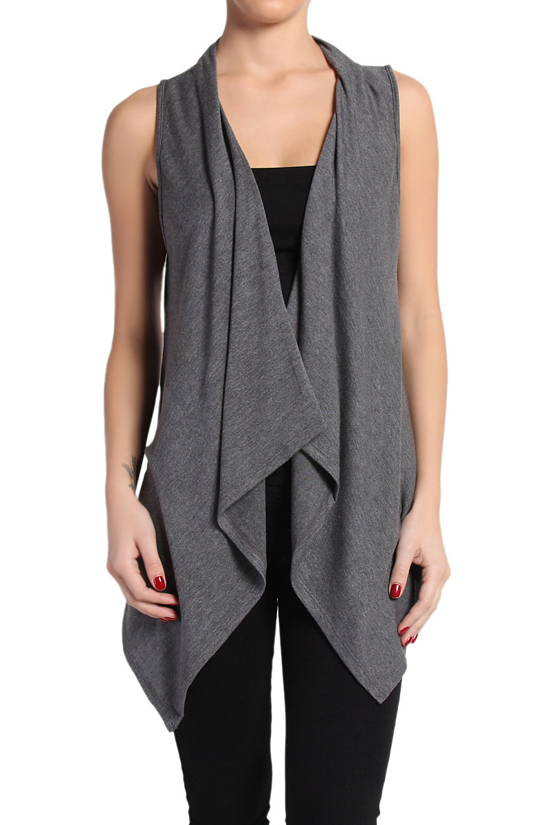 TheMogan Women's Sleeveless Draped Knit Sweater Cardigan Layering ...